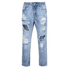 Low Rise Boyfriend Jeans With Extreme Rips ($32) ❤ liked on Polyvore featuring jeans, torn boyfriend jeans, boyfriend jeans, ripped blue jeans, distressing jeans and distressed jeans