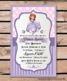 Sofia the First Birthday Invitation and Custom by DelightInvite, $2.49