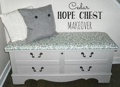 Cedar Hope Chest Makeover Refinish Hope Chest, Cedar Chest Redo, Painted Cedar Chest, Hope Chest Redo, Refurbished Furniture, Repurposed Furniture, Furniture Makeover, Diy Furniture, Reclaimed Furniture