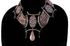 Mona Saab Original Vintage Bead & Stone Bib Style Necklace Biltmore Luxury Direct