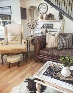 French country farmhouse living room