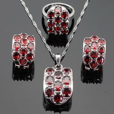 Ashley Huge Red Cubic Zirconia Silver Color Jewelry Sets For Women Wedding Necklace Pendant Hoop Earrings Rings Free Gift Box