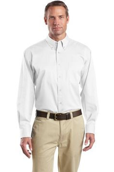 Buy the CornerStone - Long Sleeve SuperPro Twill Shirt Style SP17 from SweatShirtStation.com, on sale now for $26.88 #buttondown #twill #businesscasual White
