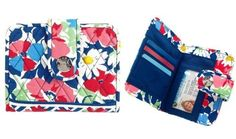 """Vera Bradley Snappy Wallet in Summer Cottage by Vera Bradley. $18.99. Size: 5½"""" x 4¼""""  Style snaps to it in this compact quilted wallet - and organization does, too. Interior card holders, an ID window and a pocket for bills keep things neat, and with a satisfying """"snap"""" of the flap closure and magnetic button, you'll know your belongings are safe inside."""