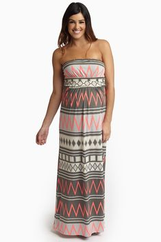 Grey-Pink-Chevron-Tribal-Printed-Strapless-Maternity-Maxi-Dress