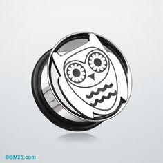 Owl Hollow Steel Single Flared Ear Gauge Plug