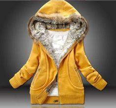 Dame femme chaud manteau d'hiver col en fourrure par dinzstore