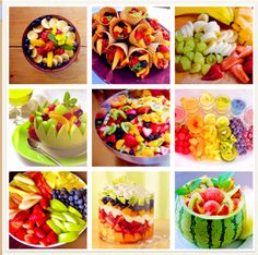 Fruit!! Awesome ideas for baby/bridal showers, summer picnics and cookouts.