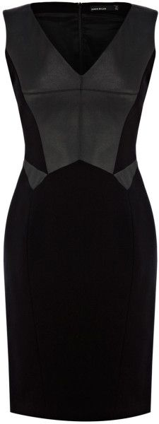 Karen Millen Black Faux Leather and Jersey Dress