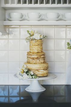 Crepe wedding cake - perfect for a breakfast wedding!