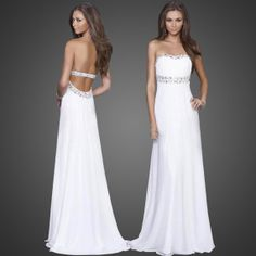 Free Shipping White Backless Strapless Open Back Floor Length Crystal Chiffon Evening Party Long Dress Formal Gowns Prom Ball Wedding WLF008 on Etsy, $159.00