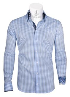 Calvino II - Checkered men's shirt with details out of fine Liberty fabrics (2 button collar)