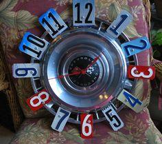 Vintage Corvette Hubcap License Plate Clock by dables on Etsy