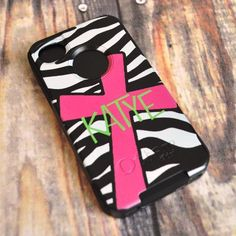 Monogrammed Otterbox Cell Phone Case -Zebra with Cross - LOVE IT!