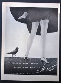 1955 Hanes Stockings Vintage Print Ad - No Seams to Worry About Seamless Stockings