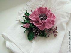 Купить Брошь - Розовые сны - роза, брошь роза, розовая роза, роза вязаная