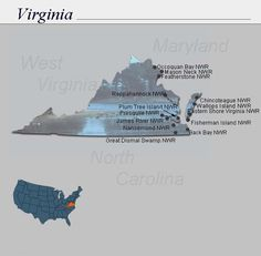 Map showing national wildlife refuges in the state of Virgina.