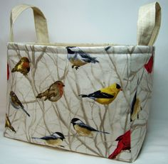 PK Fabric Basket in Birds on Branches in Cream - Storage Basket - Diaper Caddy - Ready To Ship - Reversible by PKStuff on Etsy