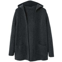 Knit Hood Cardigan (118.925 COP) ❤ liked on Polyvore featuring tops, cardigans, dark heather grey, mango tops, hooded top, long sleeve cardigan, hooded cardigans and cable knit cardigan