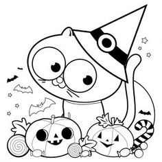 Find Halloween Cat Pumpkins Treats Black White stock images in HD and millions of other royalty-free stock photos, illustrations and vectors in the Shutterstock collection. Coloring Sheets, Coloring Books, Coloring Pages, Chat Halloween, Cat Pumpkin, White Stock Image, Free Vector Art, Book Pages, Witch