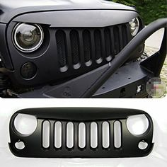 Front Matte Black Angry Bird Grille Grid Grill for Jeep Wrangler Rubicon Sahara Jk 2007-2014 HIGH FLYING