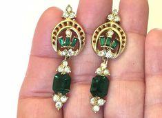 Vintage Signed CORO Emerald Green Rhinestone Dangle Screw Back Earrings MINT #Coro #Screwback Vintage Signs, Retro Vintage, Screw Back Earrings, Drop Earrings, Emerald Green, Dangles, Mint, Best Deals, Ebay