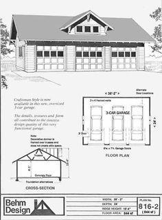 Over sized 3 car garage plans 1292 1 38 x 34 by behm design 3 car craftsman style garage plan 816 2 by behm design pole barn garagediy solutioingenieria Choice Image