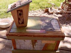 decoupaged trunk   birdhouse