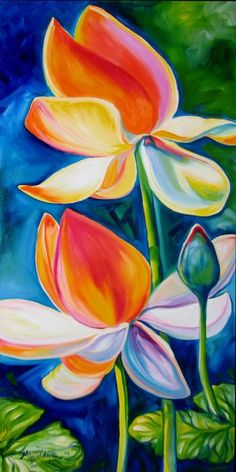 Lotus Painting - Lotus Blossoming by Marcia Baldwin Lotus Painting, Flower Painting Canvas, Canvas Art, Art Floral, Watercolor Flowers, Watercolor Paintings, Oil Pastel Art, Tropical Art, Easy Paintings
