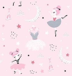 Illustration of Childish seamless pattern with cute hand drawn ballerina dancing on the moon in scandinavian style. Creative vector childish background for fabric, textile vector art, clipart and stock vectors. Cute Cartoon Boy, Sheep Cartoon, Cute Christmas Backgrounds, Baby Girl Wallpaper, Kids Cartoon Characters, Fish Icon, Unicorn Halloween, Cute Sheep, Cute Dragons
