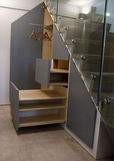 40 Ideas open closet storage ideas under stairs Understairs Storage Closet Ideas open stairs storage Open Basement Stairs, Closet Under Stairs, Space Under Stairs, Under Stairs Cupboard, Loft Stairs, House Stairs, Basement Ideas, Upstairs Hallway, Hallway Ideas