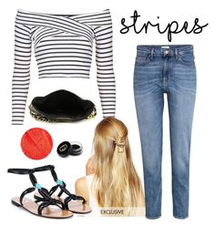 """""""#stripes"""" by moria801 ❤ liked on Polyvore featuring Topshop, DesignSix, H&M, Valentino, Big Buddha, Lipstick Queen, Gucci and stripes"""