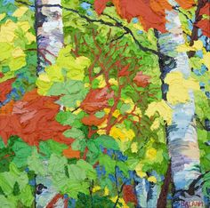 Glimpse: Maples Birches IV, 13 x13, oil on canvas by Frank Balaam at a Scottsdale art gallery