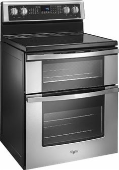Whirlpool - 6.7 Cu. Ft. Self-Cleaning Freestanding Double Oven Electric Convection Range - Stainless steel - Angle Zoom