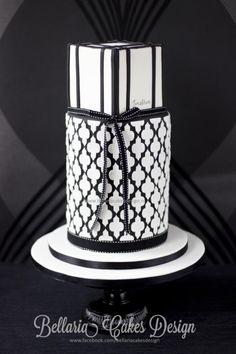 """Black and white quatrefoil cake"" Just delivered this cake for birthday man ""Jonathan"". He wanted a modern black and white cake for his birthday. I am happy how the cake turned out. I have fallen in love with this black and white cake. I hope you..."