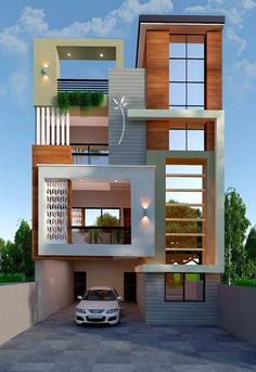 The exterior is the face of the house that everyone will see in the first part. Take a look at the world's most beautiful modern homes and find Modern Exterior House Designs, Modern House Plans, Modern House Design, Exterior Design, House Outside Design, House Front Design, Small House Design, 3 Storey House Design, Duplex House Design