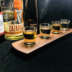 Tequila Shot Glass Tasting Flight.  Solid Walnut 4 Shot Glass Serving Tray.  Personalize with laser engraving! #cazadoras #donjulio #1942 #gift #homebar #drinks #oneofakind #giftsforhim #etsy #mancave #bar #bartender #giftideas #shotglass #shots #handcrafted #drinking #party #handmade #etsysale #tequila #tequilashots #tequilatasting #gifts #entertaining #servingtray #blanco #anejo #reposado #barware #agave #tequilas #tequilatuesday #mexicanrestaurant #cocktails #beverage #distillery… Tequila Tasting, Whisky Tasting, You And Tequila, Recipe For Teens, Color Streaks, Tequila Shots, Tasting Table, Drink Menu, Vegetable Drinks