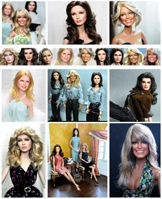 Variations of Farrah Fawcett as well as Black label Barbies of Farrah Fawcett, Action Doll Kate Jackson, Cheryl Ladd, Jaclyn Smith and others (repainted and restyled Dolls) by Noel Cruz of ncruz.com. Web Site and Graphics by stevemckinnis.com.