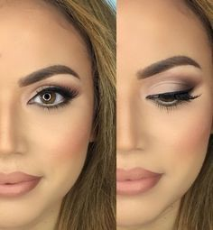 Neutral Eyeshadow + Nude Lips + Classic Liner + Blush                                                                             Source