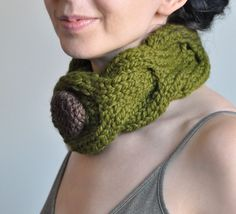 Olive Grove  hand knit neckwarmer chunky by EveldasNeverland, $38.00