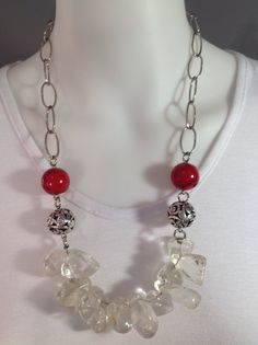 Dramatic medium length gemstone necklace with chunky clear quartz, large red coral beads and metal balls on large chain - Michela Rae