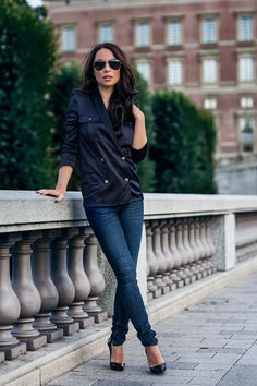 That Navy[[MORE]]  Sunglasses: SAINT LAURENT (my color sold out),Top: THE KOOPLESJeans: MASSIMO DUTTI,Shoes: CHRISTIAN LOUBOUTIN  Fashion By Johanna Olsson
