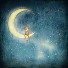 Kai fine art moon magic, for stars, stars and moon, paysage nocturne, star illustra Good Night Moon, Art Prints, Fine Art, Star Art, Star Illustration, Illustration Design, Whimsical Art, Art, Illustration Print
