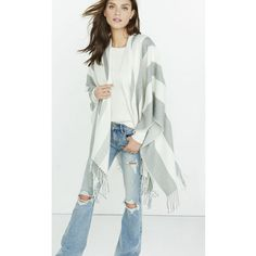 Express Metallic Gray And Ivory Stripe Scarf Cover-up