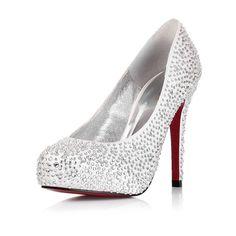 High Heel Closed Toe Rhinestone Silver Wedding Bridal Shoes  2012