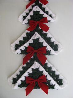Items similar to Granny Square Christmas Tree on Etsy Crochet Christmas Decorations, Christmas Tree Pattern, Crochet Christmas Ornaments, Christmas Crochet Patterns, Holiday Crochet, Christmas Knitting, Christmas Items, Christmas Crafts, Christmas Yarn