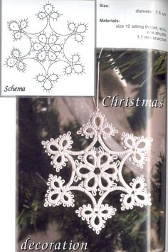 Crochet Snowflake Pattern, Crochet Snowflakes, Crochet Doilies, Crochet Patterns, Crochet Christmas Ornaments, Holiday Crochet, Christmas Crafts, Christmas Decorations, Shuttle Tatting Patterns