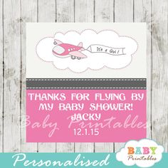 Blue airplane baby shower banner d164 shower banners airplane printable pink and gray airplane baby shower square labels personalized as favor tags gift negle Gallery