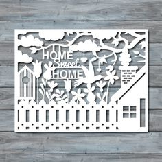 Home Sweet Home Paper cut Template - PDF Printable - Paper cutting template - Paper templates - Cut your own - Paper cut out - Home template