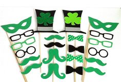 Photo Booth Props 22 St Patrick's Day St Paddy's Celtic Irish Wedding Photo Booth Props Party Pack Wedding Photo Both Props Glasses Mustache. $29.95, via Etsy.